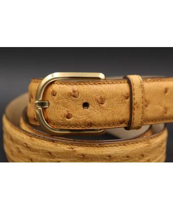 Honey ostrich skin belt - buckle detail