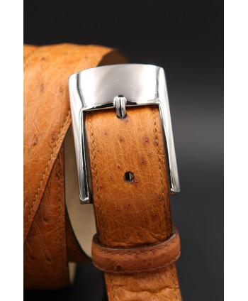 Camel ostrich skin belt - buckle detail