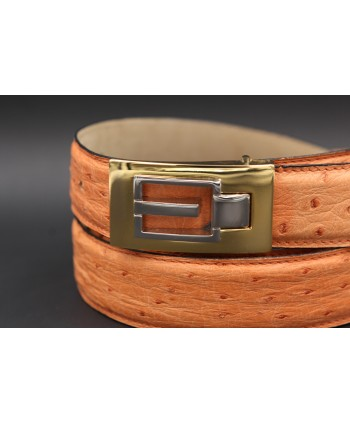Peach ostrich skin belt - buckle detail