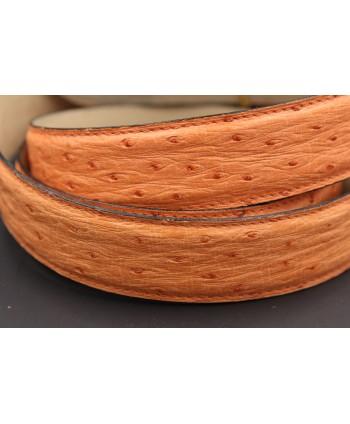 Ceinture en peau d'autruche pêche largeur 30 - détail peau