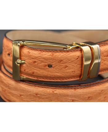 Peach ostrich skin belt - buckle detail