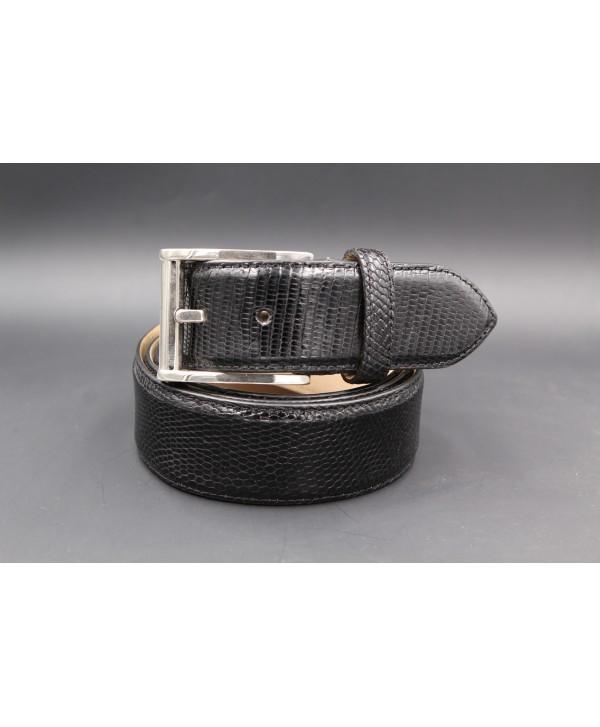 Black lizard skin belt width 40