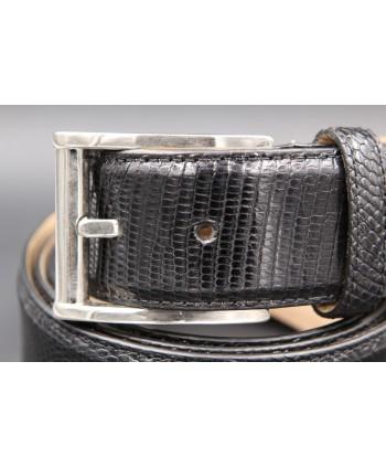 Black lizard skin belt width 40 - buckle detail