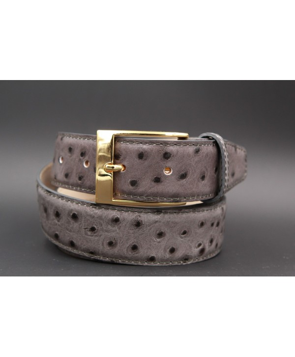 Grey Croco-style leather belt - golden buckle