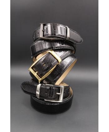 Black lizard skin belt