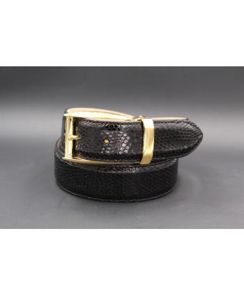 Black lizard skin belt - golden buckle