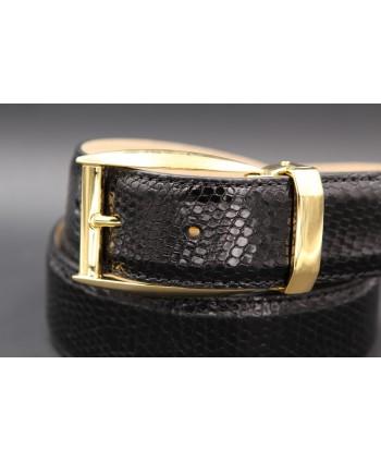 Black lizard skin belt - golden buckle - buckle detail