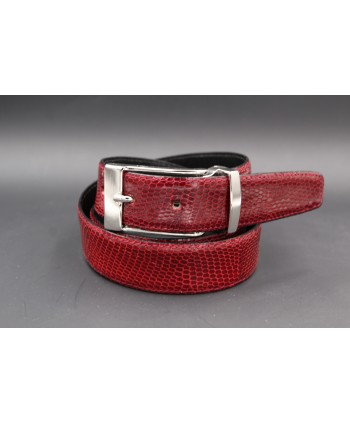 Belt in carmine red lizard skin width 30