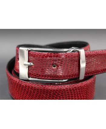 Belt in carmine red lizard skin width 30 - buckle detail