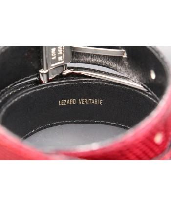 Belt in carmine red lizard skin width 30 - back detail