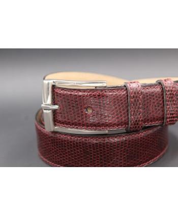 Plum Lizard Skin Belt width 30 - buckle detail