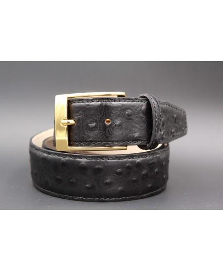 Ceinture cuir noir façon autruche - boucle dorée