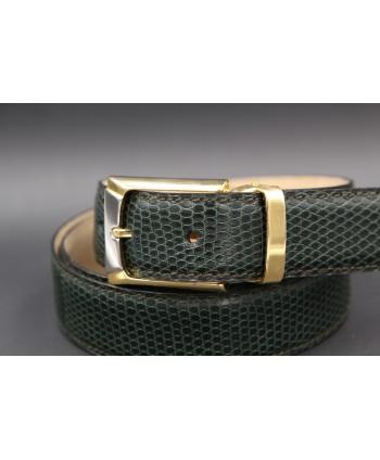 Green lizard skin belt width 30 - buckle detail