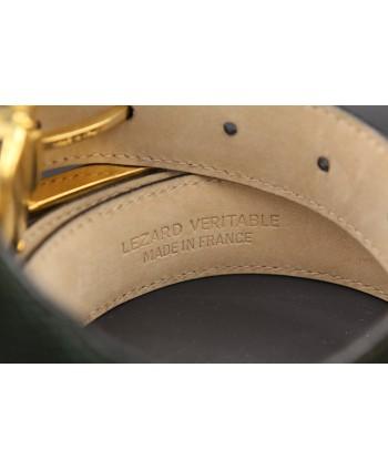 Green lizard skin belt width 30 - back detail