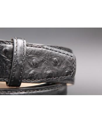 Ceinture cuir noir façon autruche - détail