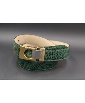 Green colored lizard skin belt - golden and nickel buckle