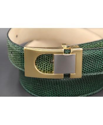 Green colored lizard skin belt - golden and nickel buckle - buckle detail