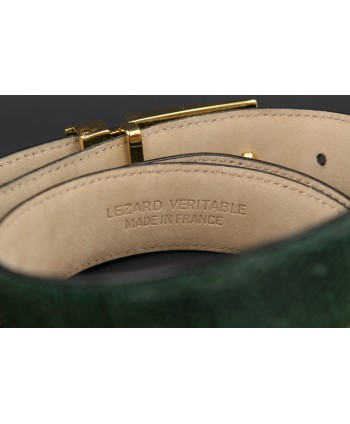 Green colored lizard skin belt - golden and nickel buckle - back detail