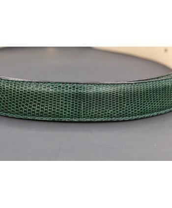 Green colored lizard skin belt - golden and nickel buckle - skin detail