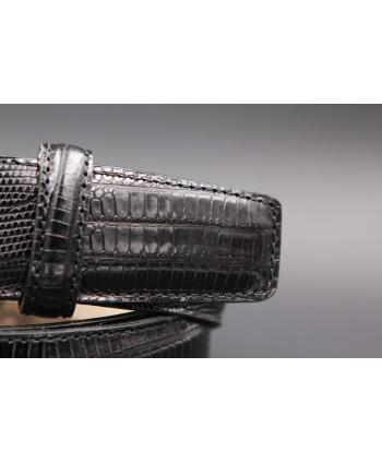 Lizard-style black leather belt - detail