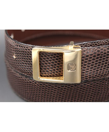 Torrente belt in brown lizard skin width 30 - buckle detail