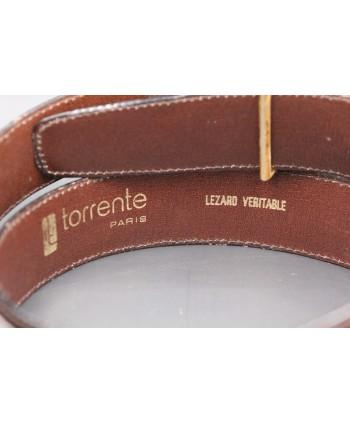 Ceinture Torrente en peau de lézard marron largeur 30 - détail doublure