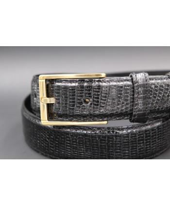 Black lizard skin belt - buckle detail