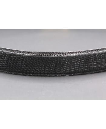 Black lizard skin belt - skin detail