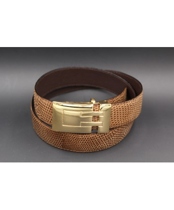 Belt in lizard skin hazelnut color width 30
