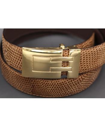 Belt in lizard skin hazelnut color width 30 - buckle detail