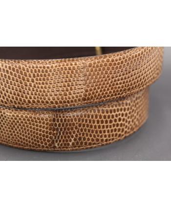 Belt in lizard skin hazelnut color width 30 - skin detail