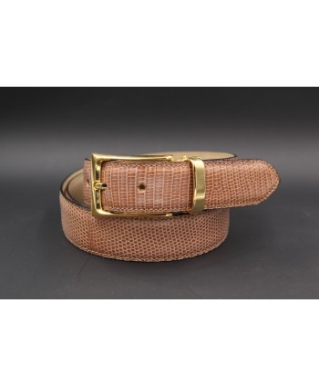Hazelnut colored lizard skin belt