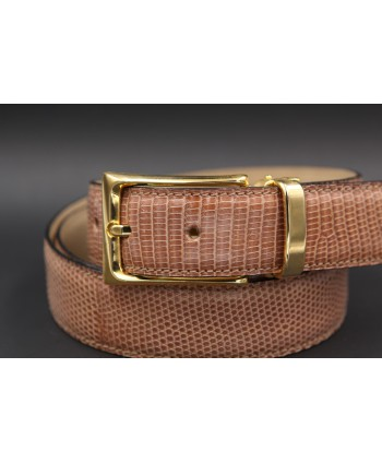 Hazelnut colored lizard skin belt - buckle detail