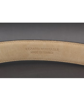 Hazelnut colored lizard skin belt - back detail