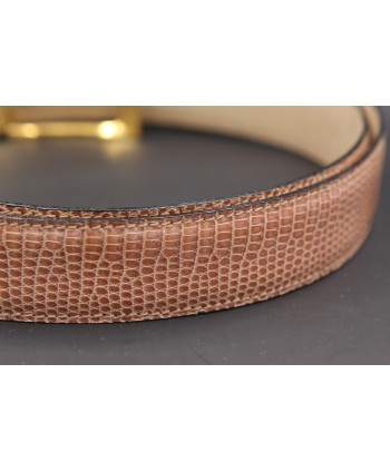 Hazelnut colored lizard skin belt - skin detail