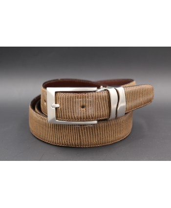Belt in lizard skin hazelnut color