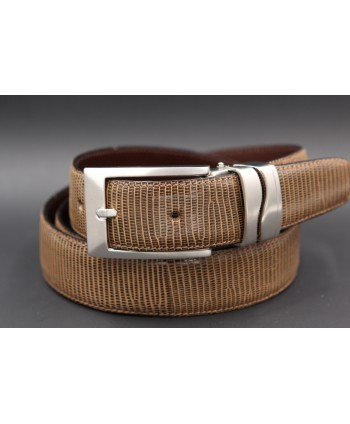 Belt in lizard skin hazelnut color - buckle detail