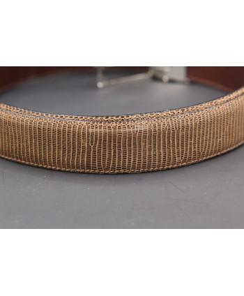 Belt in lizard skin hazelnut color - skin detail
