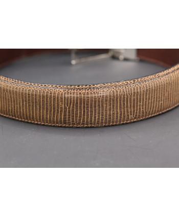 Belt in lizard skin hazelnut color - skin detail