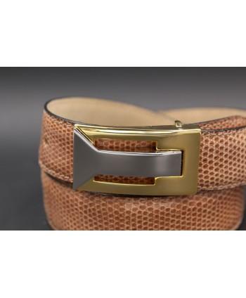 Belt in hazelnut lizard skin width 30 - buckle detail