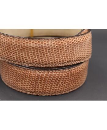 Belt in hazelnut lizard skin width 30 - skin detail