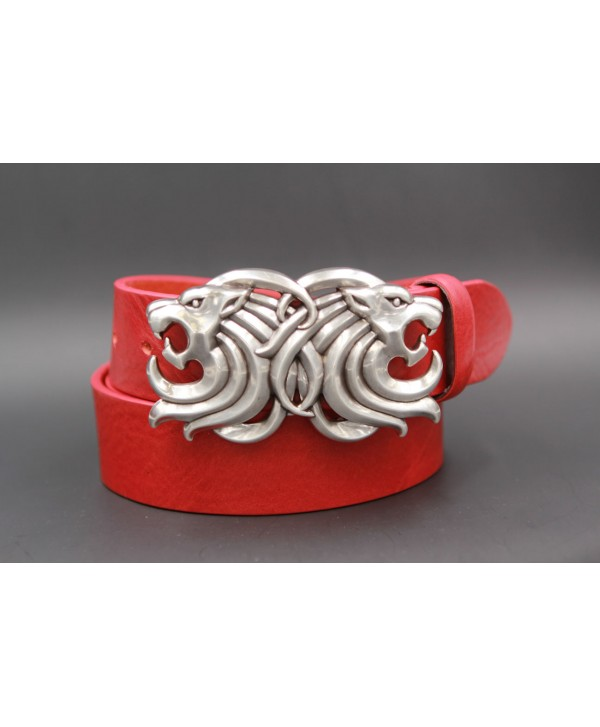 Large red belt two lion head buckle