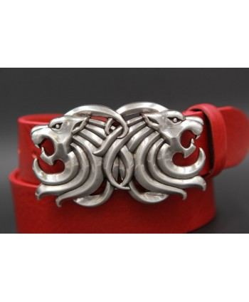 Large red belt two lion head buckle - buckle detail