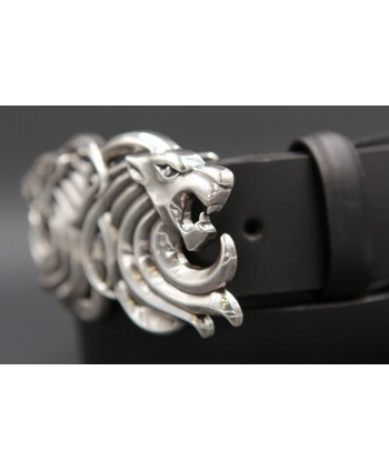 Large black belt two lion head buckle - other buckle detail