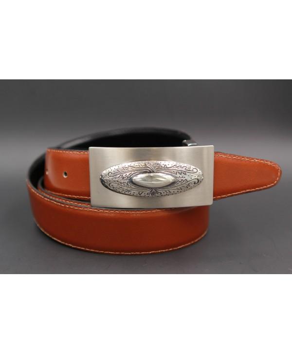 Reversible leather belt with western buckle - Cognac-Black