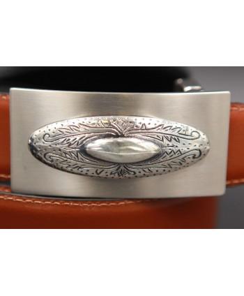 Reversible leather belt with western buckle - Cognac-Black - buckle detail