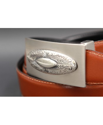 Reversible leather belt with western buckle - Cognac-Black - buckle detail - Other view
