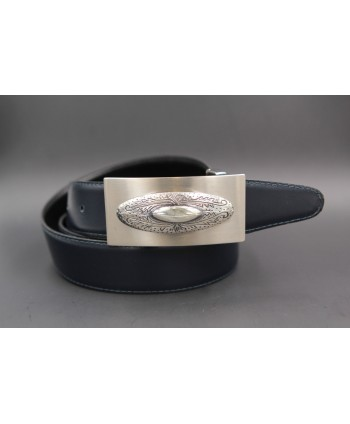 Reversible leather belt with western buckle - Navy blue-Brown
