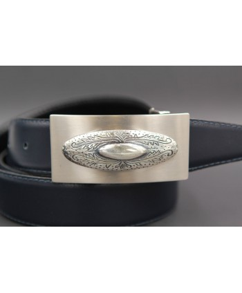 Reversible leather belt with western buckle - Navy blue-Brown - buckle detail