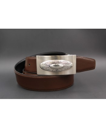 Reversible leather belt with western buckle - Brown-Black